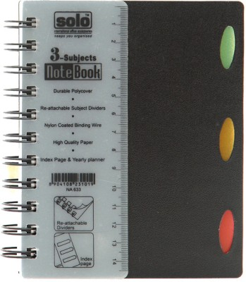 Buy Solo Management 3 Subjects (Pack of 2) A6 Notebook Spiral Binding: Diary Notebook