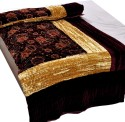 Little India Jaipuri Maroon Jaipuri Double Bed Velvet Quilt 407 Modern Ethnic Quilt - Double