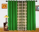 Dekor World Damask Design And Plain Combo Design Door Curtain