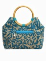 Jute Tree Round Cane Fancy Hand Bag - Blue