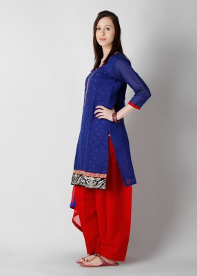 Buy Anahi Embroidered Churidar Suit: Salwar Kurta Dupatta