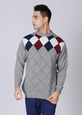 Lawman Checkered Round Neck Casual Men's Sweater