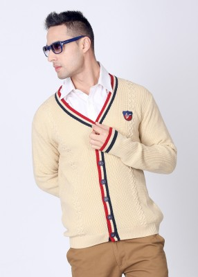American Swan Striped V-neck Casual Men's Sweater