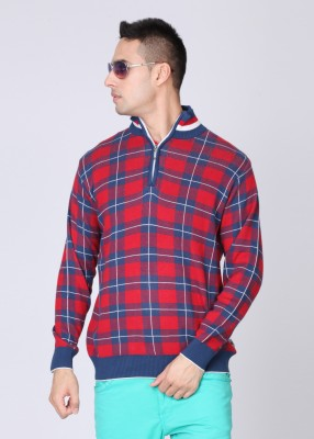 Monte Carlo Checkered High Neck Casual Men's Sweater