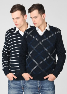 Proline Striped V-neck Casual Reversible Men's Sweater