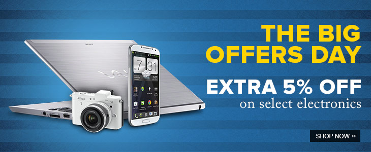20130527 230650 homepage banner tuesday sale electronics Extra 5 % on electronics product @ flipkart